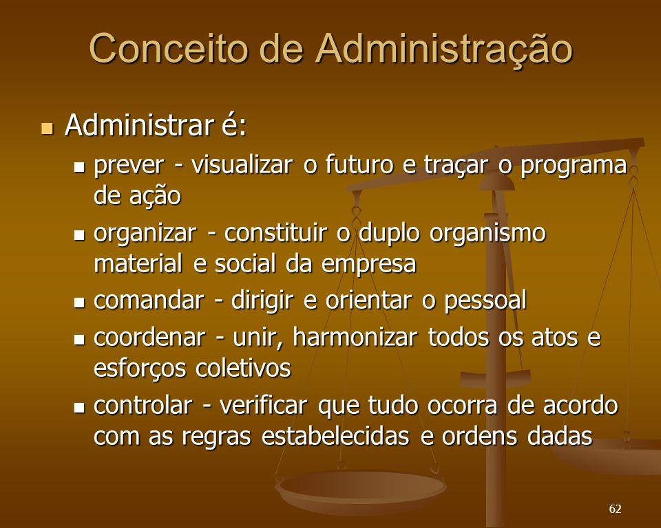 62 Conceito de Administração Administrar é: Administrar é: prever - visualizar o futuro e traçar o programa de ação prever - visualizar o futuro e tra