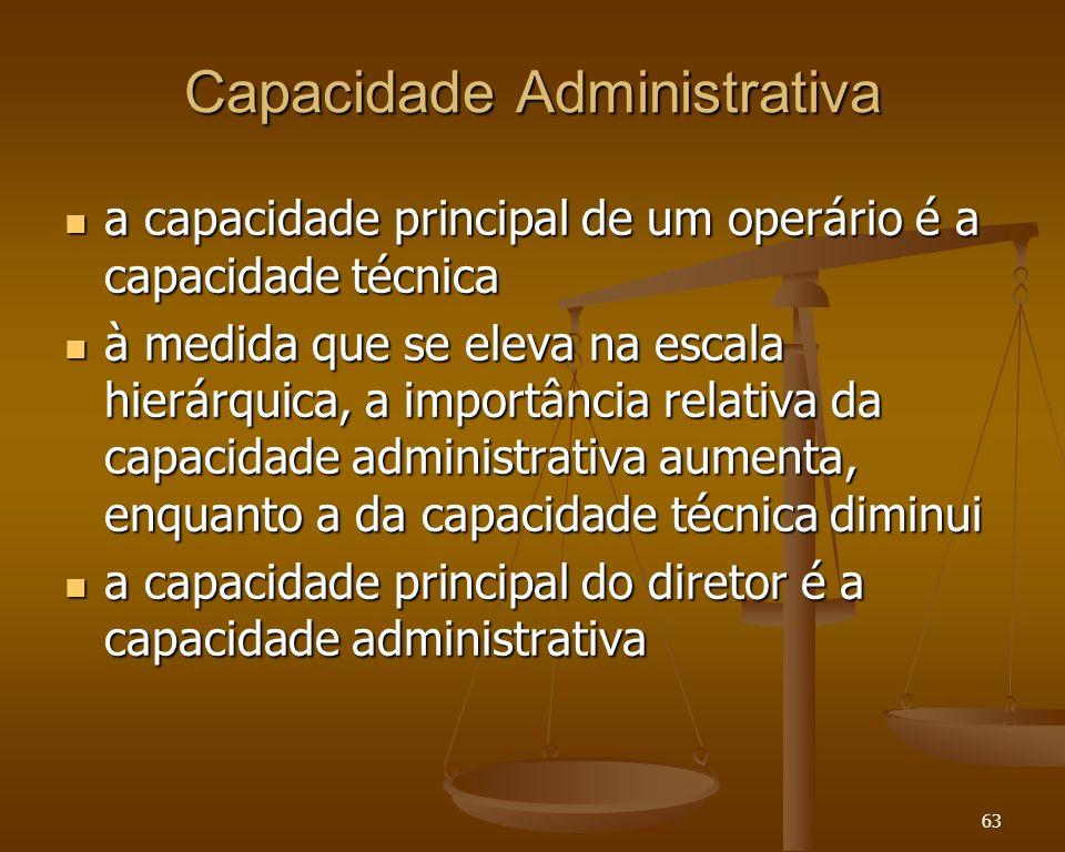 63 Capacidade Administrativa a capacidade principal de um operário é a capacidade técnica a capacidade principal de um operário é a capacidade técnica