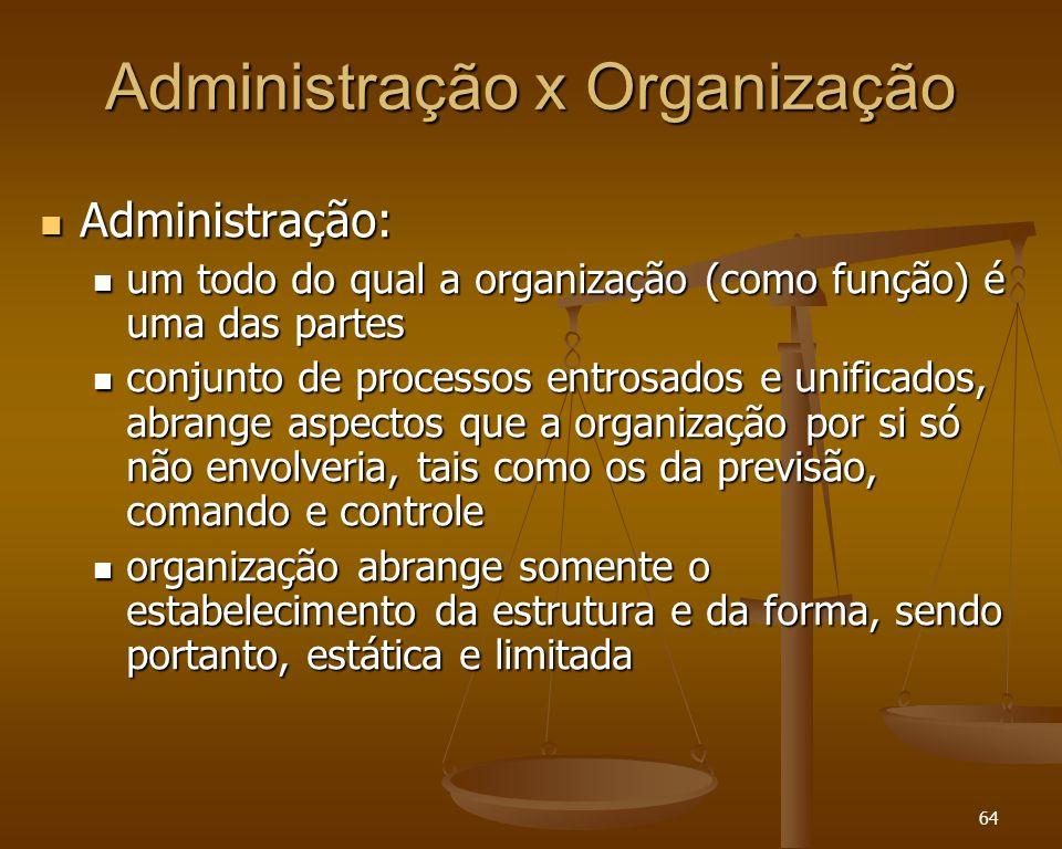 64 Administração x Organização Administração: Administração: um todo do qual a organização (como função) é uma das partes um todo do qual a organizaçã