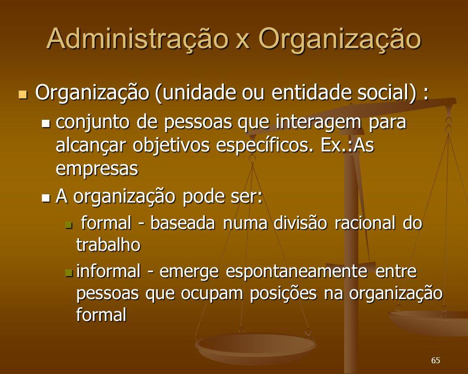 65 Administração x Organização Organização (unidade ou entidade social) : Organização (unidade ou entidade social) : conjunto de pessoas que interagem