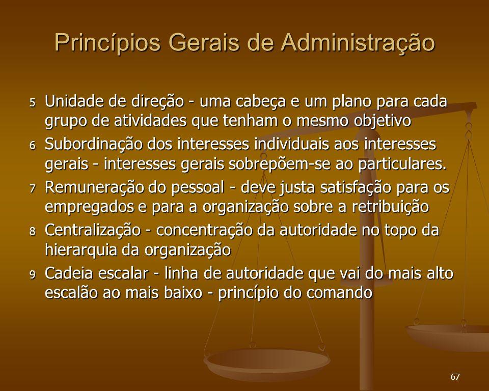 67 Princípios Gerais de Administração 5 Unidade de direção - uma cabeça e um plano para cada grupo de atividades que tenham o mesmo objetivo 6 Subordi