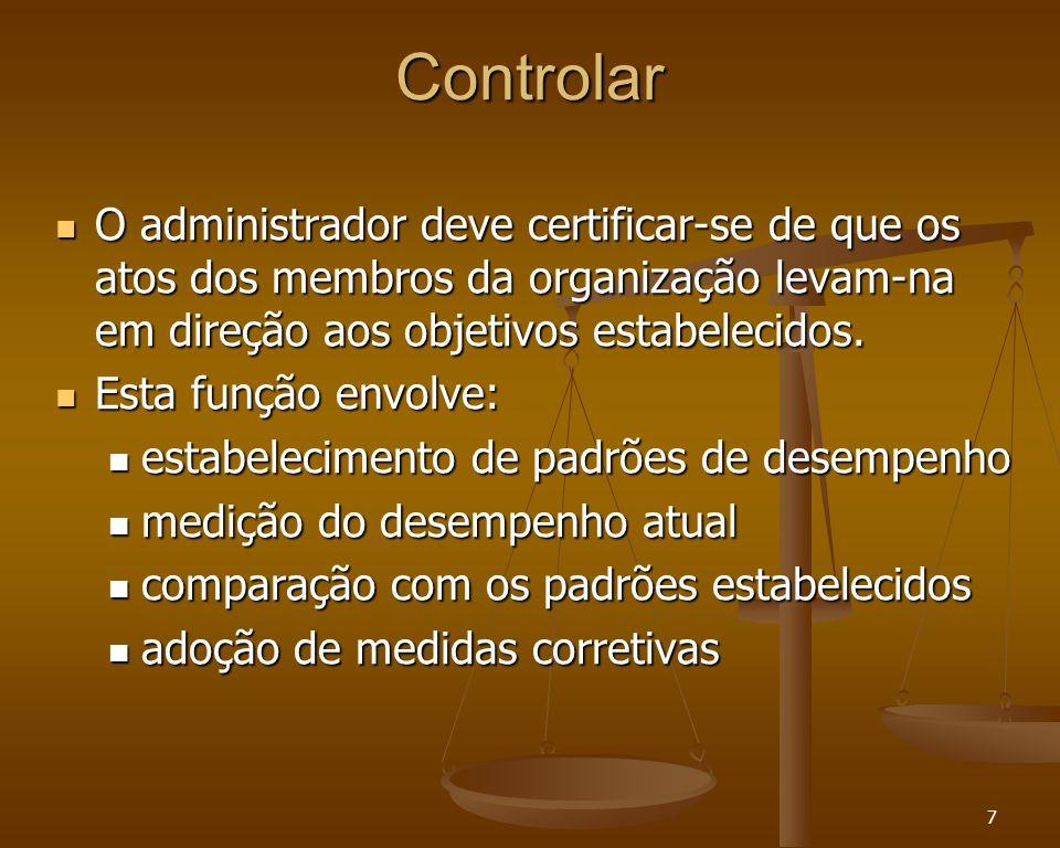 7 Controlar O administrador deve certificar-se de que os atos dos membros da organização levam-na em direção aos objetivos estabelecidos. O administra