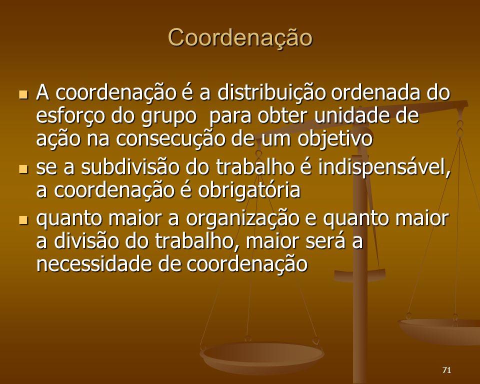71 Coordenação A coordenação é a distribuição ordenada do esforço do grupo para obter unidade de ação na consecução de um objetivo A coordenação é a d