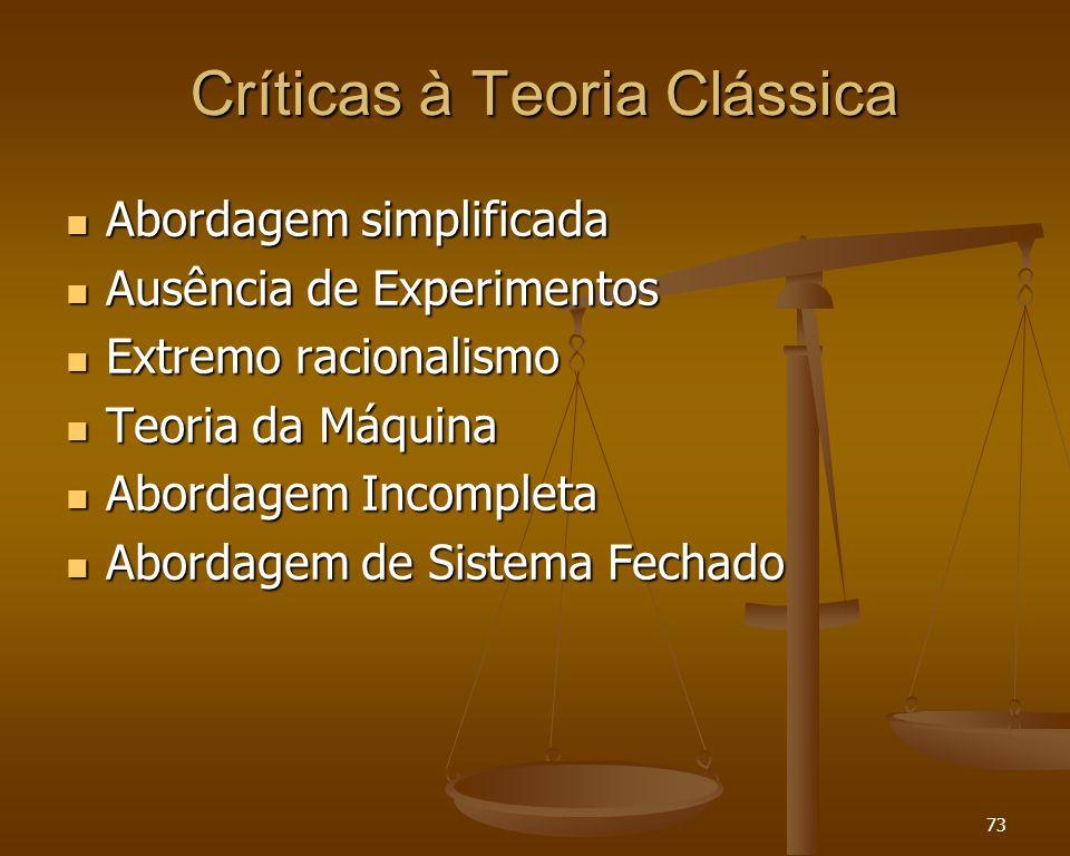 73 Críticas à Teoria Clássica Abordagem simplificada Abordagem simplificada Ausência de Experimentos Ausência de Experimentos Extremo racionalismo Ext