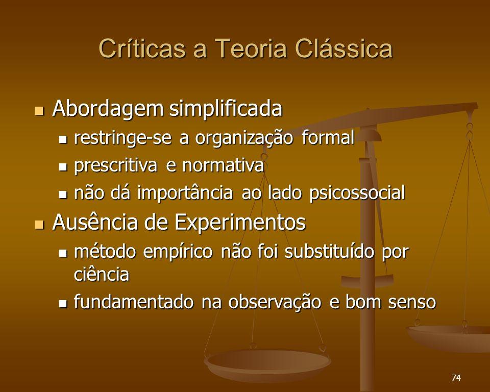 74 Críticas a Teoria Clássica Abordagem simplificada Abordagem simplificada restringe-se a organização formal restringe-se a organização formal prescr