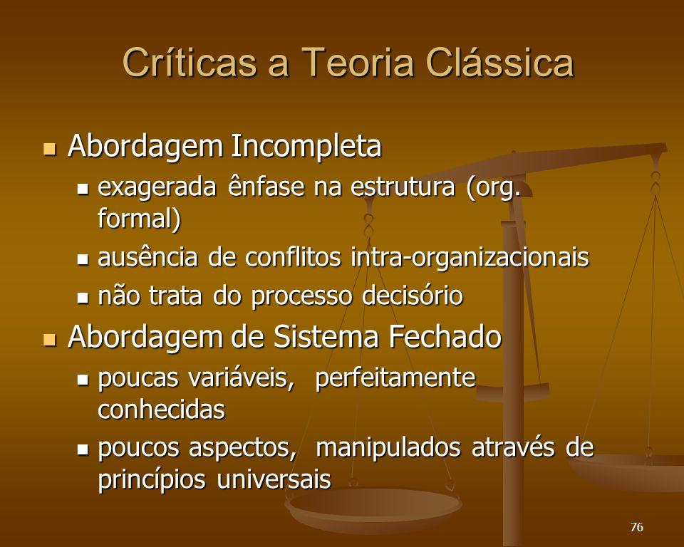76 Críticas a Teoria Clássica Abordagem Incompleta Abordagem Incompleta exagerada ênfase na estrutura (org. formal) exagerada ênfase na estrutura (org