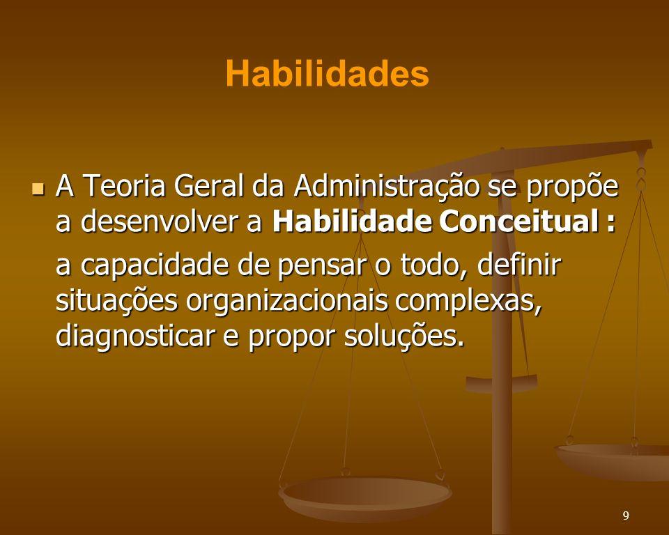 9 A Teoria Geral da Administração se propõe a desenvolver a Habilidade Conceitual : A Teoria Geral da Administração se propõe a desenvolver a Habilida