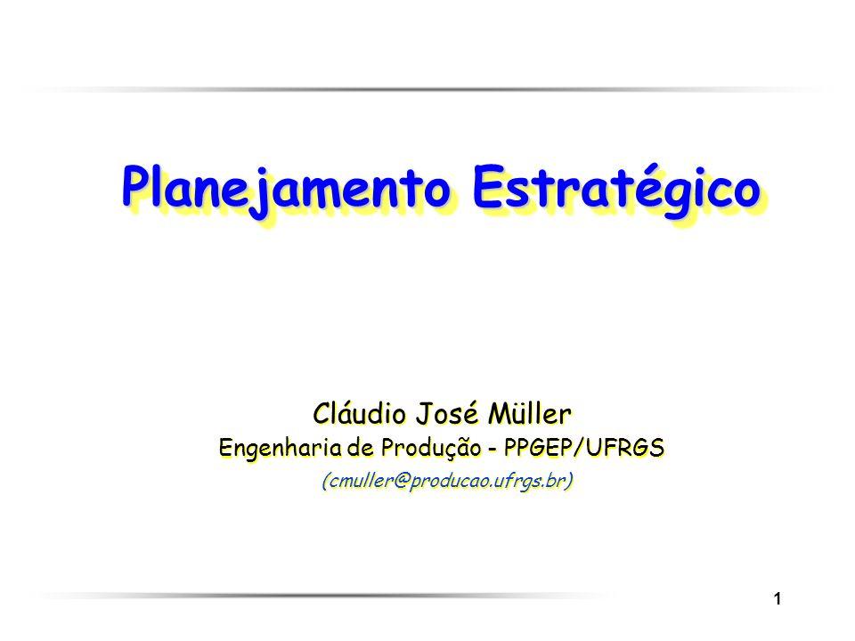 1 Planejamento Estratégico Cláudio José Müller Engenharia de Produção - PPGEP/UFRGS (cmuller@producao.ufrgs.br) Cláudio José Müller Engenharia de Prod