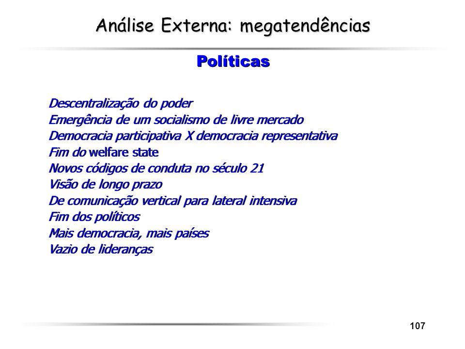 107 Análise Externa: megatendências Descentralização do poder Emergência de um socialismo de livre mercado Democracia participativa X democracia repre