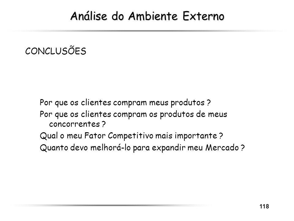 118 Análise do Ambiente Externo CONCLUSÕES Por que os clientes compram meus produtos ? Por que os clientes compram os produtos de meus concorrentes ?