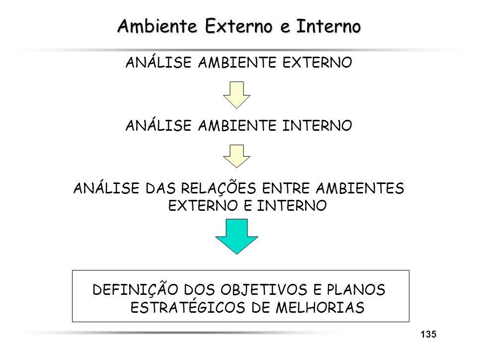 135 Ambiente Externo e Interno ANÁLISE AMBIENTE EXTERNO ANÁLISE AMBIENTE INTERNO ANÁLISE DAS RELAÇÕES ENTRE AMBIENTES EXTERNO E INTERNO DEFINIÇÃO DOS