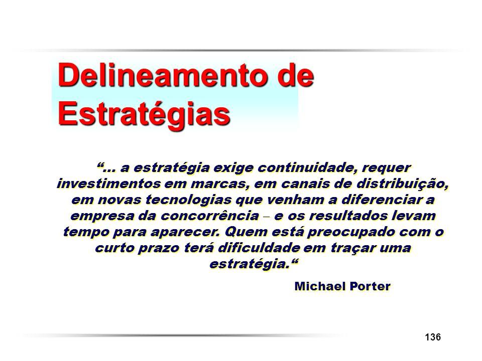 136 Delineamento de Estratégias... a estratégia exige continuidade, requer investimentos em marcas, em canais de distribuição, em novas tecnologias qu