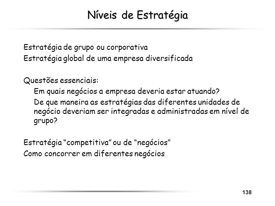 138 Níveis de Estratégia Estratégia de grupo ou corporativa Estratégia global de uma empresa diversificada Questões essenciais: Em quais negócios a em