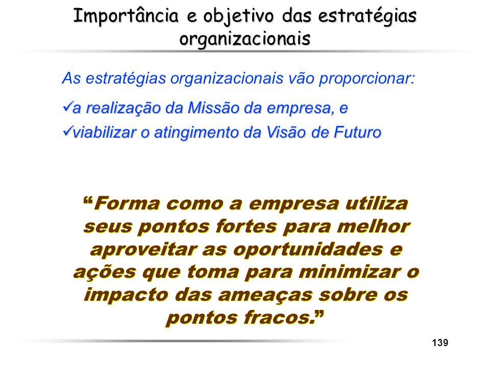 139 Importância e objetivo das estratégias organizacionais As estratégias organizacionais vão proporcionar: a realização da Missão da empresa, e a rea