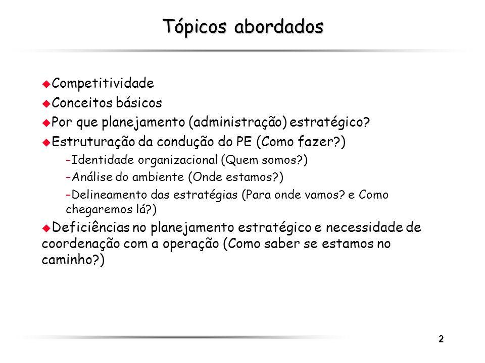 2 Tópicos abordados u Competitividade u Conceitos básicos u Por que planejamento (administração) estratégico? u Estruturação da condução do PE (Como f