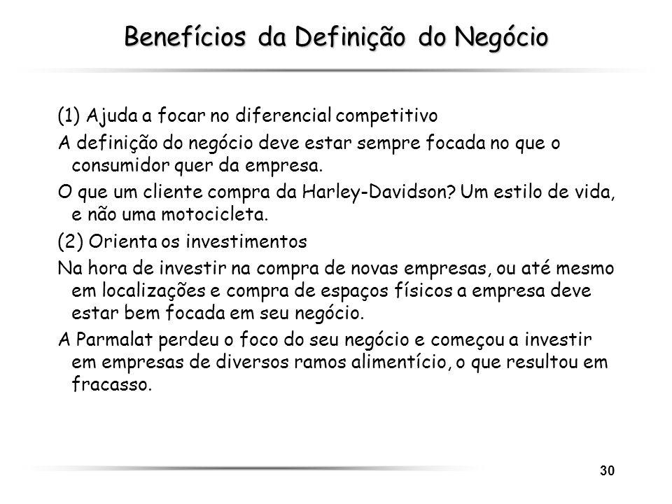 30 Benefícios da Definição do Negócio (1) Ajuda a focar no diferencial competitivo A definição do negócio deve estar sempre focada no que o consumidor