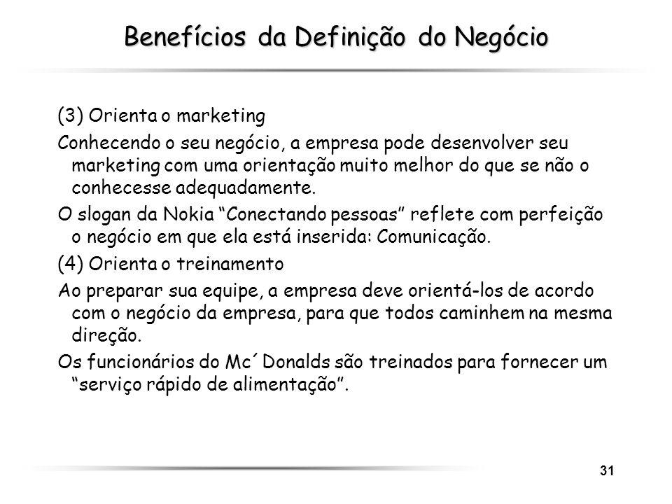 31 Benefícios da Definição do Negócio (3) Orienta o marketing Conhecendo o seu negócio, a empresa pode desenvolver seu marketing com uma orientação mu