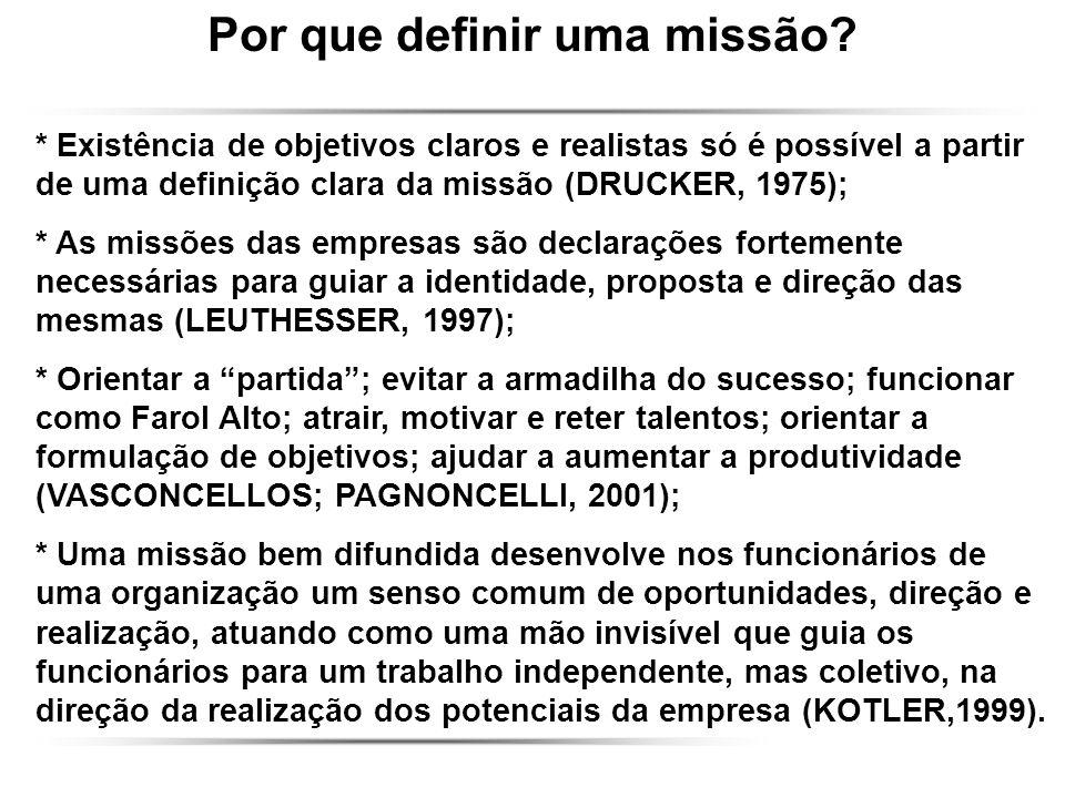 Por que definir uma missão? * Existência de objetivos claros e realistas só é possível a partir de uma definição clara da missão (DRUCKER, 1975); * As