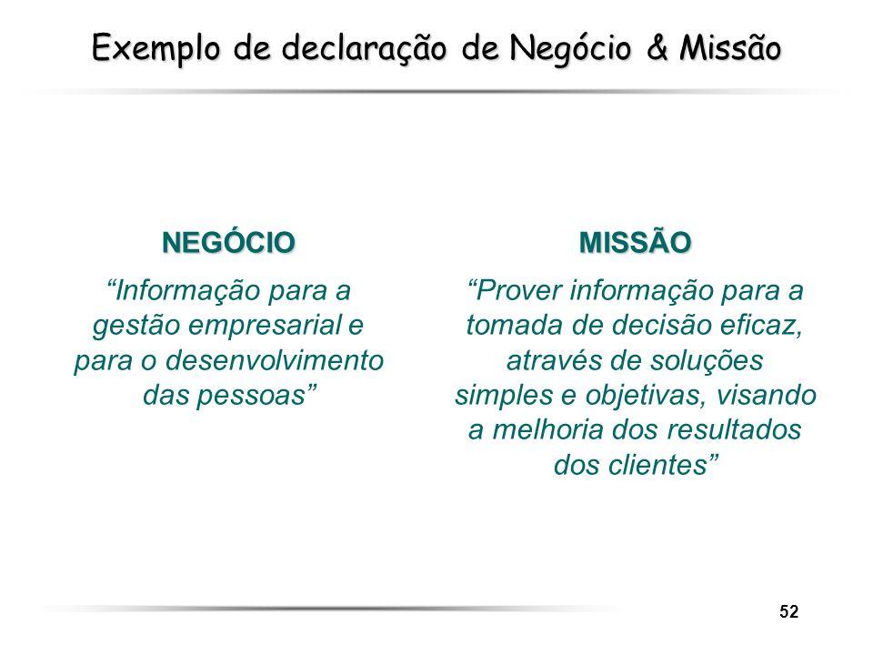 52 Exemplo de declaração de Negócio & Missão MISSÃO Prover informação para a tomada de decisão eficaz, através de soluções simples e objetivas, visand
