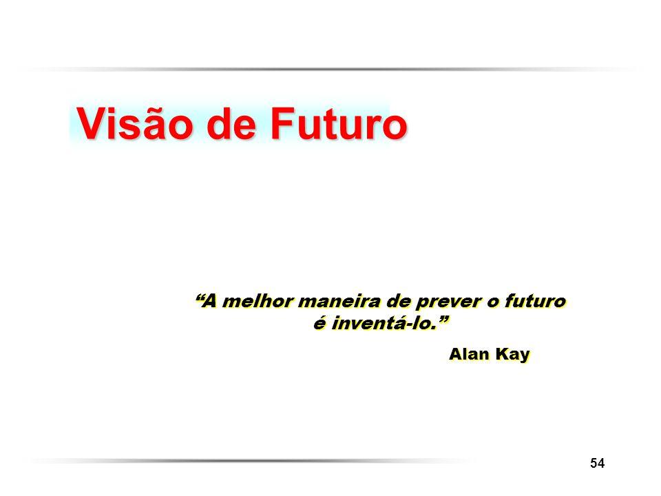 54 Visão de Futuro A melhor maneira de prever o futuro é inventá-lo. Alan Kay A melhor maneira de prever o futuro é inventá-lo. Alan Kay