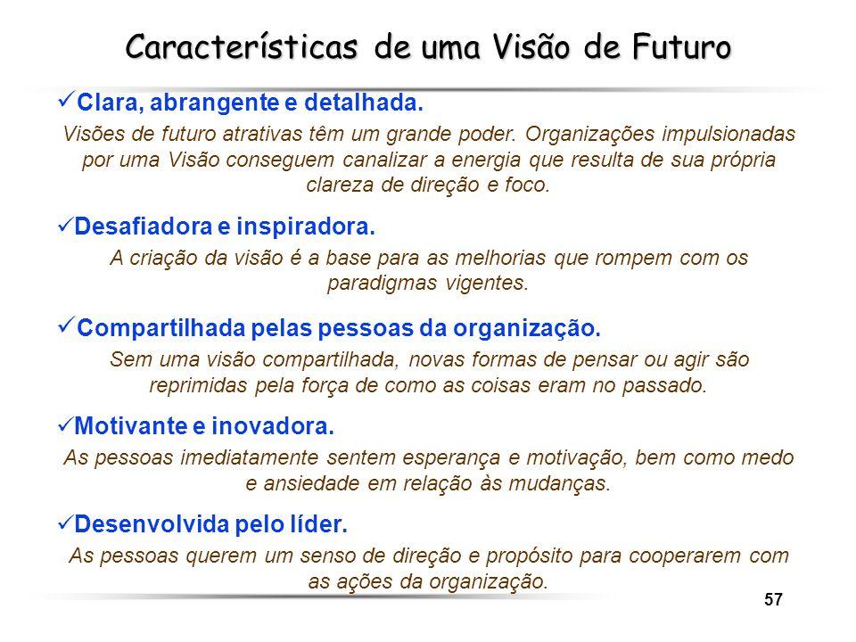 57 Características de uma Visão de Futuro Clara, abrangente e detalhada. Visões de futuro atrativas têm um grande poder. Organizações impulsionadas po