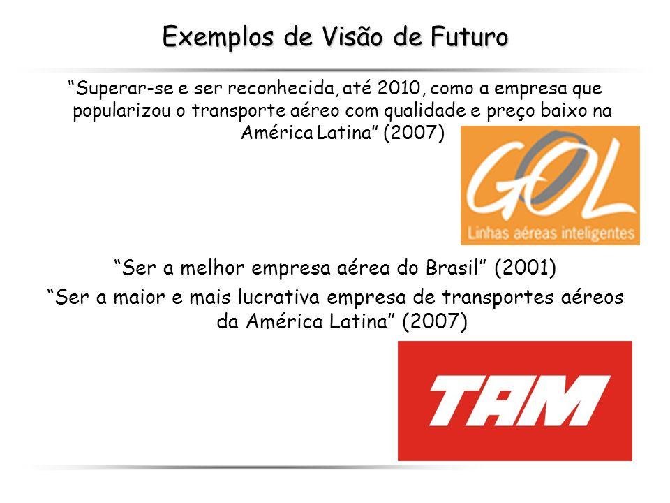 Exemplos de Visão de Futuro Superar-se e ser reconhecida, até 2010, como a empresa que popularizou o transporte aéreo com qualidade e preço baixo na A