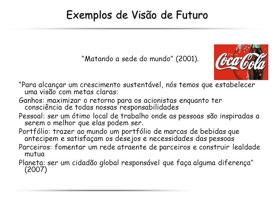 Exemplos de Visão de Futuro Matando a sede do mundo (2001). Para alcançar um crescimento sustentável, nós temos que estabelecer uma visão com metas cl