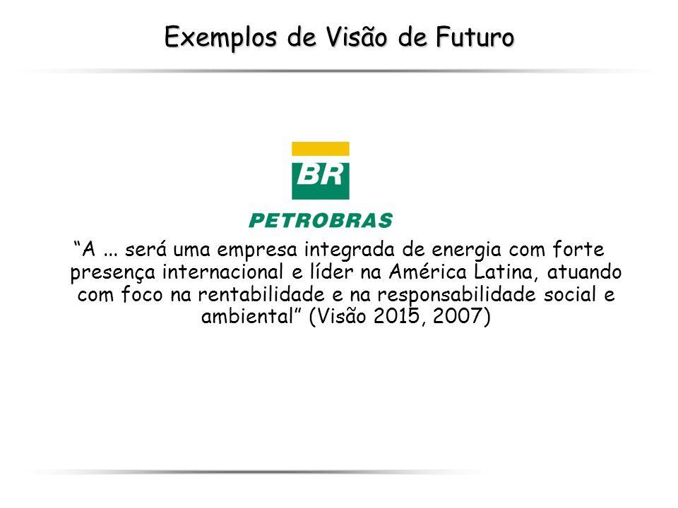 Exemplos de Visão de Futuro A... será uma empresa integrada de energia com forte presença internacional e líder na América Latina, atuando com foco na