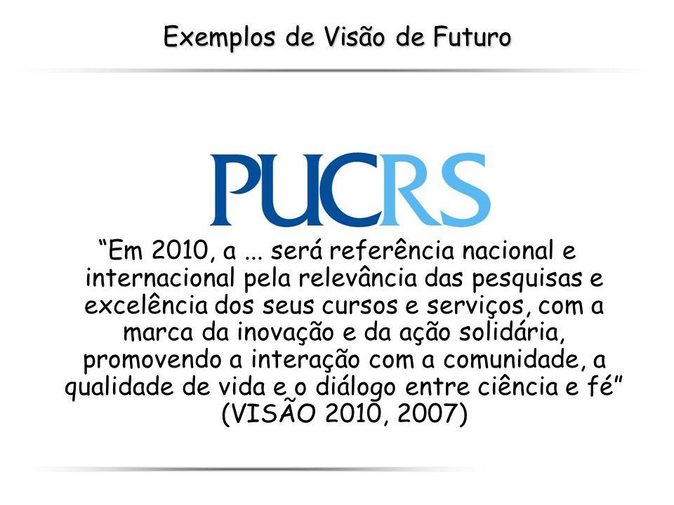 Exemplos de Visão de Futuro Em 2010, a... será referência nacional e internacional pela relevância das pesquisas e excelência dos seus cursos e serviç