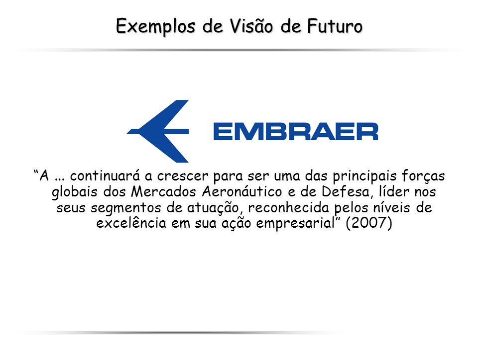 Exemplos de Visão de Futuro A... continuará a crescer para ser uma das principais forças globais dos Mercados Aeronáutico e de Defesa, líder nos seus