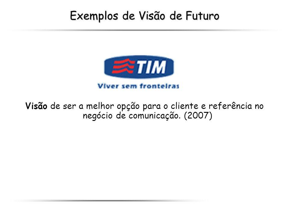 Exemplos de Visão de Futuro Visão de ser a melhor opção para o cliente e referência no negócio de comunicação. (2007)
