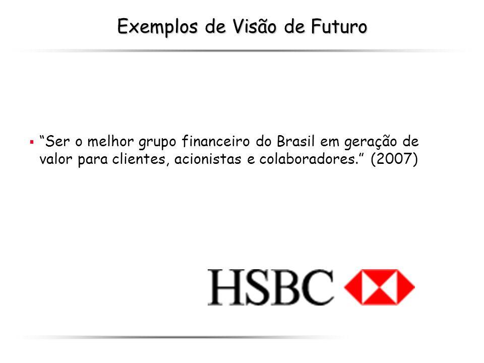 Exemplos de Visão de Futuro Ser o melhor grupo financeiro do Brasil em geração de valor para clientes, acionistas e colaboradores. (2007)