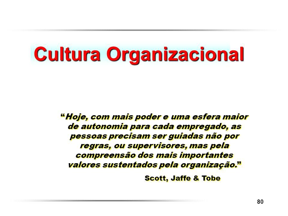 80 Cultura Organizacional Hoje, com mais poder e uma esfera maior de autonomia para cada empregado, as pessoas precisam ser guiadas não por regras, ou