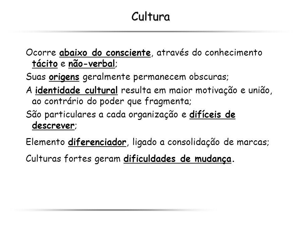 Cultura Ocorre abaixo do consciente, através do conhecimento tácito e não-verbal; Suas origens geralmente permanecem obscuras; A identidade cultural r