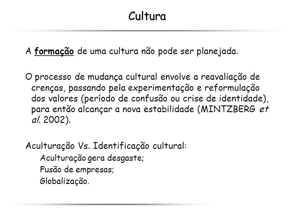 Cultura A formação de uma cultura não pode ser planejada. O processo de mudança cultural envolve a reavaliação de crenças, passando pela experimentaçã