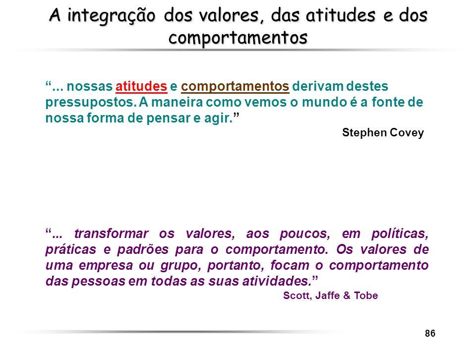 86 A integração dos valores, das atitudes e dos comportamentos... transformar os valores, aos poucos, em políticas, práticas e padrões para o comporta