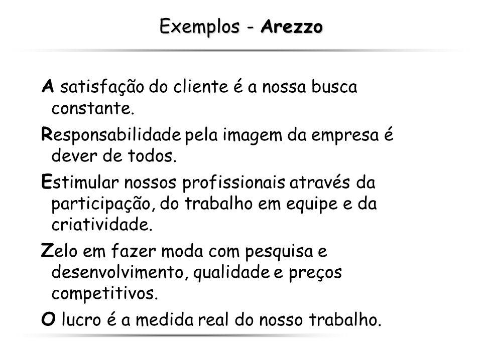 Exemplos - Arezzo A satisfação do cliente é a nossa busca constante. R esponsabilidade pela imagem da empresa é dever de todos. E stimular nossos prof