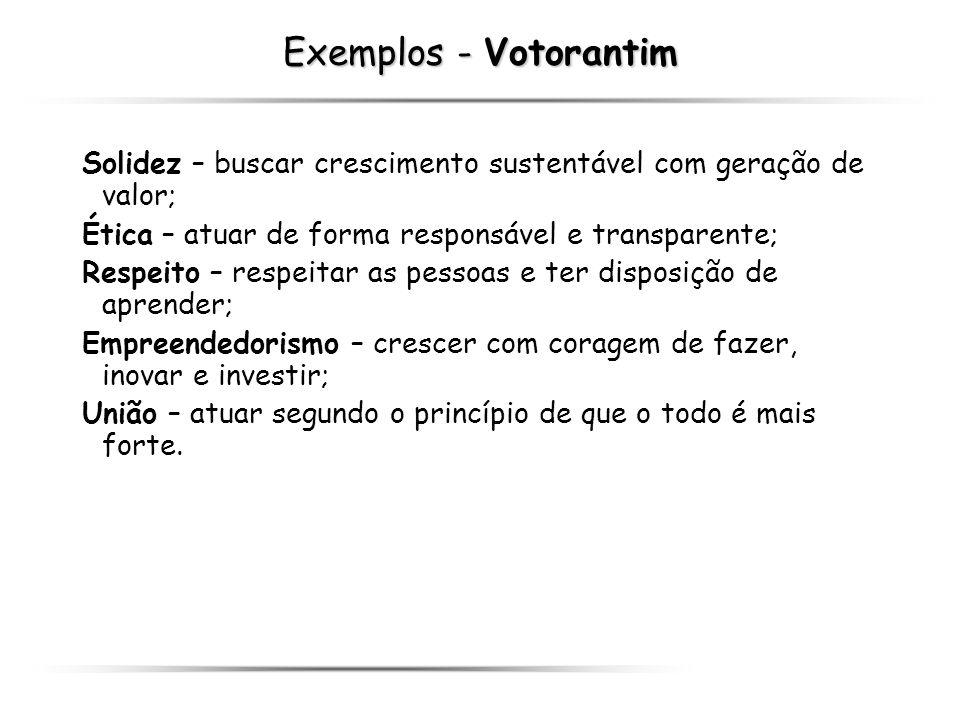 Exemplos - Votorantim Solidez – buscar crescimento sustentável com geração de valor; Ética – atuar de forma responsável e transparente; Respeito – res