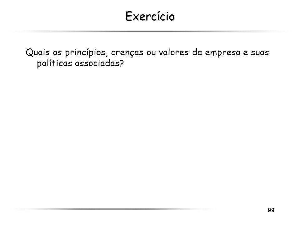 99 Exercício Quais os princípios, crenças ou valores da empresa e suas políticas associadas?