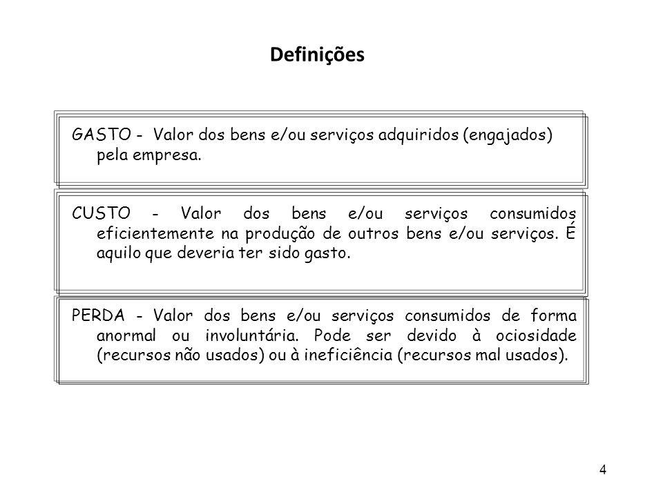 4 GASTO - Valor dos bens e/ou serviços adquiridos (engajados) pela empresa. CUSTO - Valor dos bens e/ou serviços consumidos eficientemente na produção