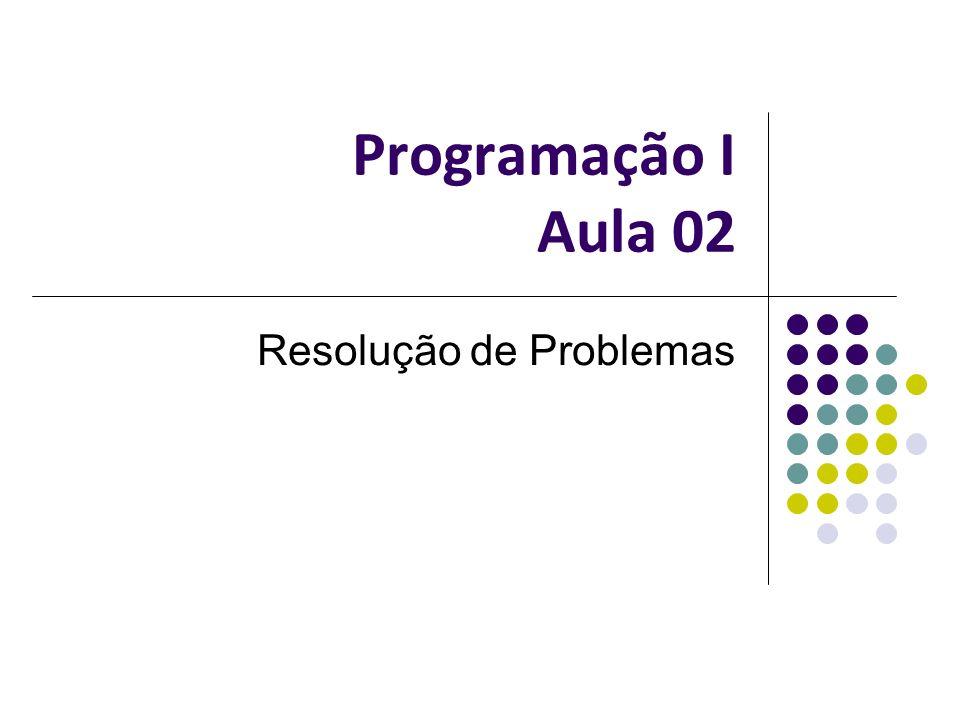 Programação I Aula 02 Resolução de Problemas