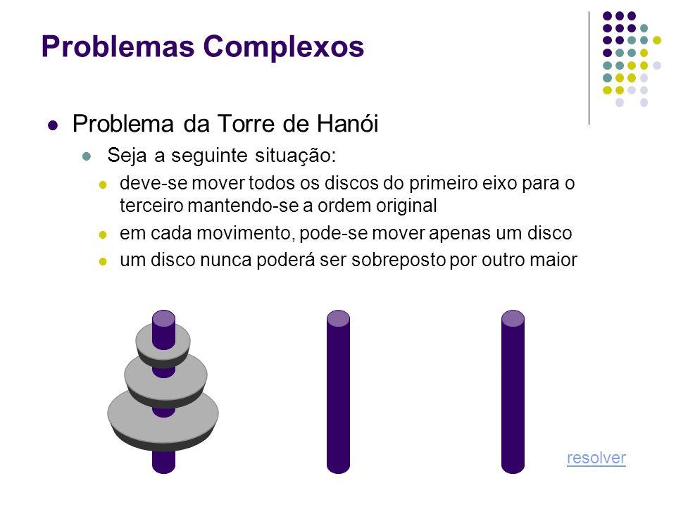 Problema da Torre de Hanói Seja a seguinte situação: deve-se mover todos os discos do primeiro eixo para o terceiro mantendo-se a ordem original em ca