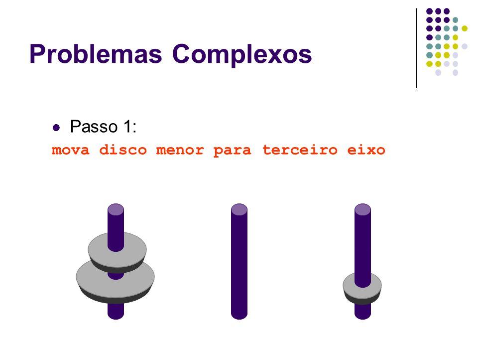 Passo 1: mova disco menor para terceiro eixo Problemas Complexos