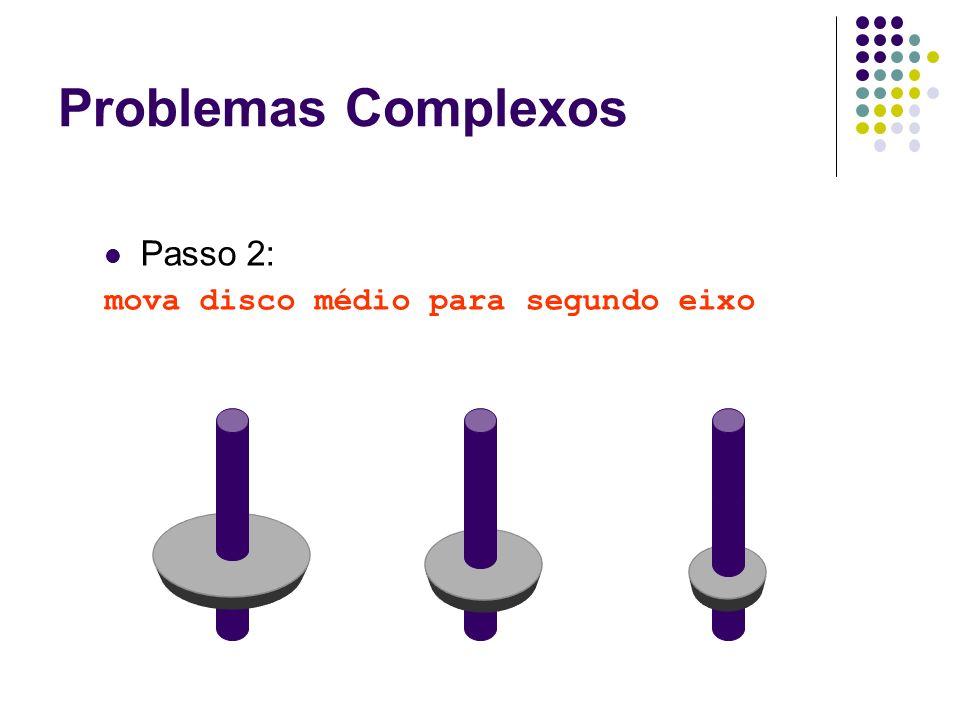 Passo 2: mova disco médio para segundo eixo Problemas Complexos
