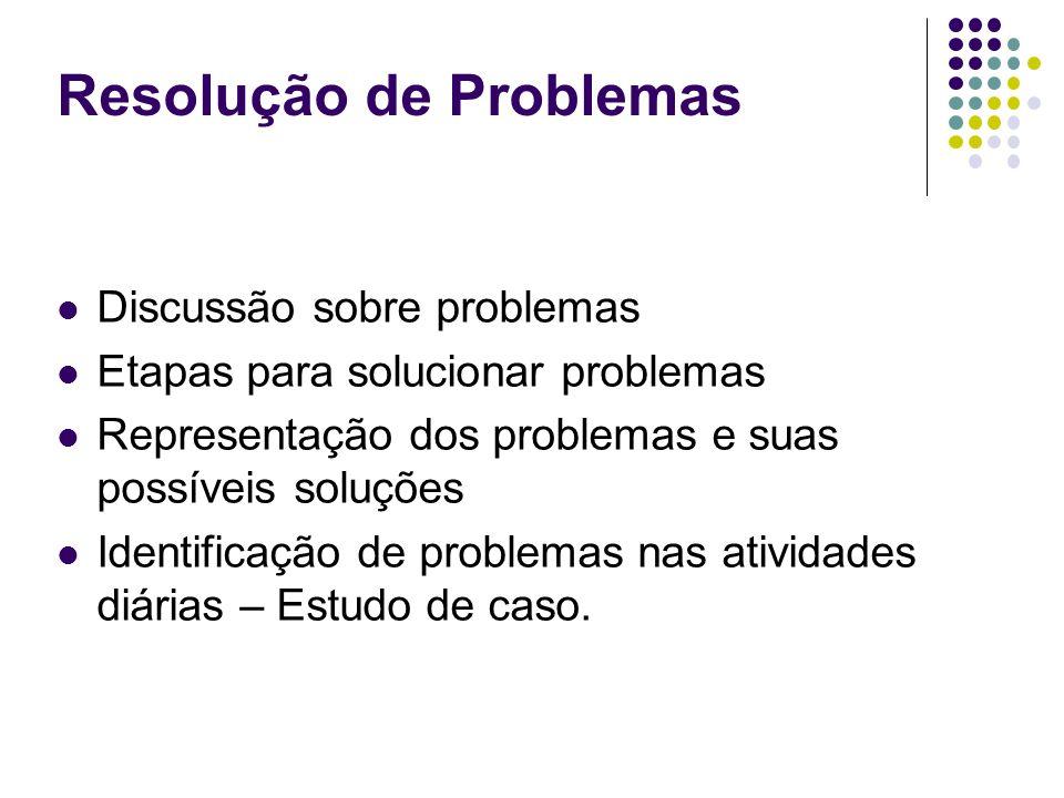 Discussão sobre problemas Etapas para solucionar problemas Representação dos problemas e suas possíveis soluções Identificação de problemas nas ativid