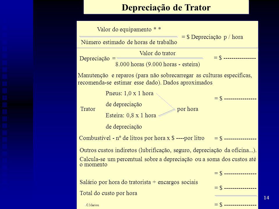 14 Depreciação de Trator Valor do equipamento * * Número estimado de horas de trabalho = $ Depreciação p / hora Depreciação = Valor do trator 8.000 ho