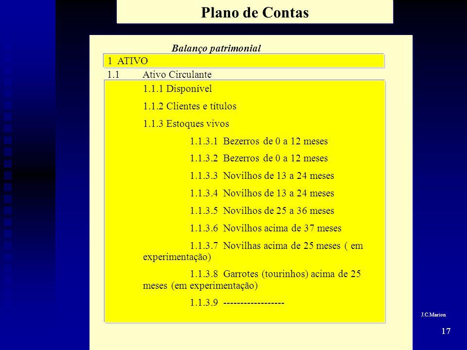 17 Plano de Contas Balanço patrimonial 1 ATIVO 1.1 Ativo Circulante 1.1.1 Disponível 1.1.2 Clientes e títulos 1.1.3 Estoques vivos 1.1.3.1 Bezerros de