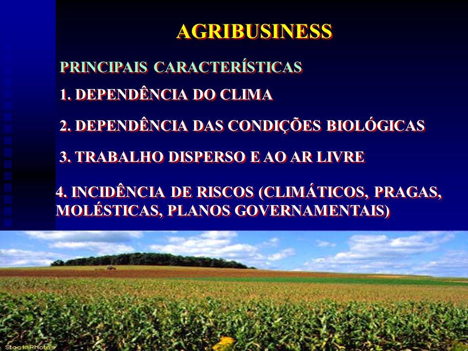 8 AGRIBUSINESS PRINCIPAIS CARACTERÍSTICAS 1. DEPENDÊNCIA DO CLIMA 2. DEPENDÊNCIA DAS CONDIÇÕES BIOLÓGICAS 3. TRABALHO DISPERSO E AO AR LIVRE 4. INCIDÊ