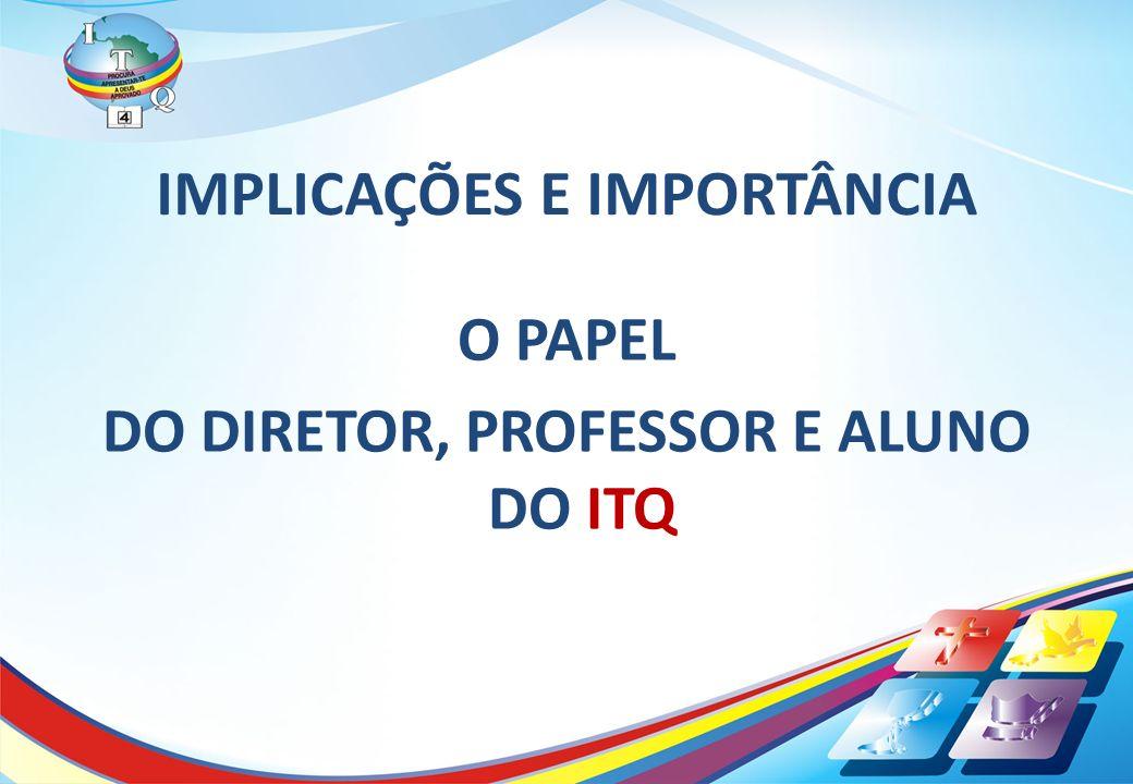 IMPLICAÇÕES E IMPORTÂNCIA O PAPEL DO DIRETOR, PROFESSOR E ALUNO DO ITQ