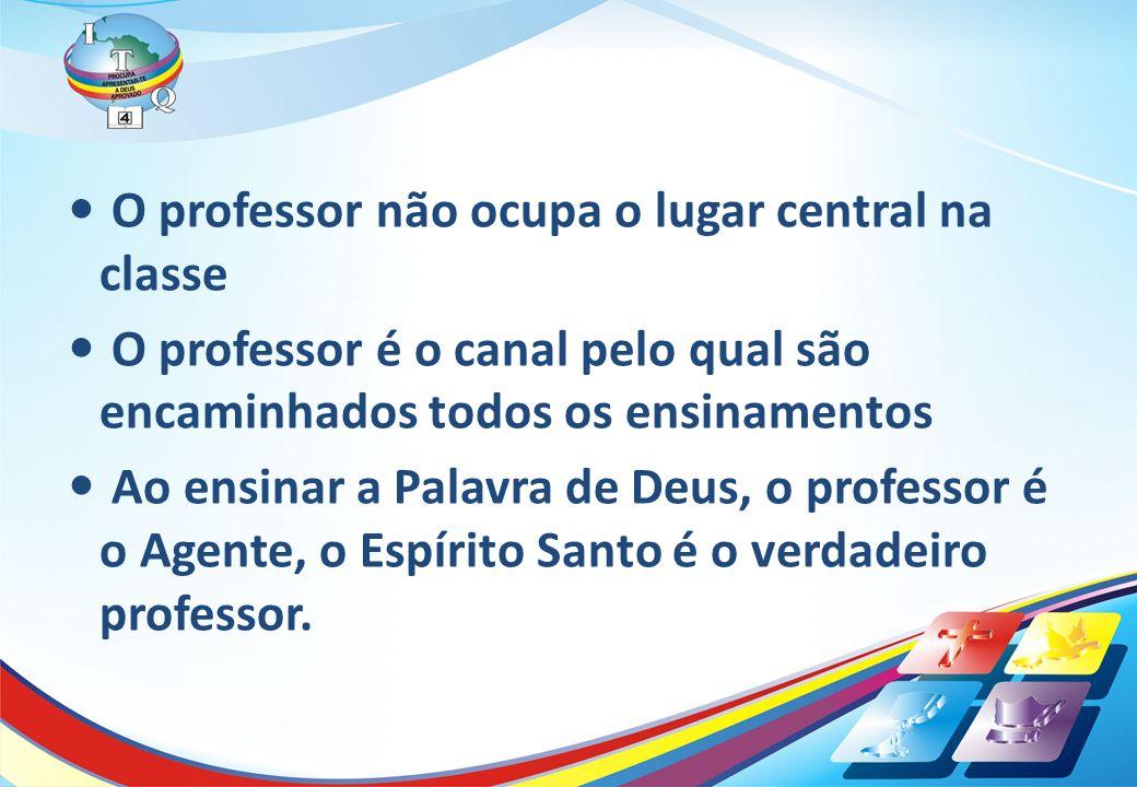 O professor não ocupa o lugar central na classe O professor é o canal pelo qual são encaminhados todos os ensinamentos Ao ensinar a Palavra de Deus, o